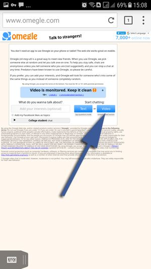 Omegle Video for Android - Puffin Browser Step 4 Click on Video Chat