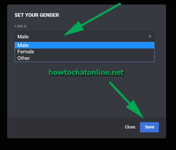 Emerald Chat Register - Select a Gender