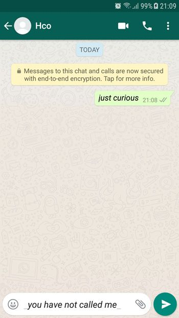 How to Italic Text on WhatsApp Example