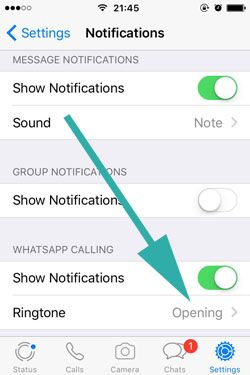 change whatsapp ringtone for contacts