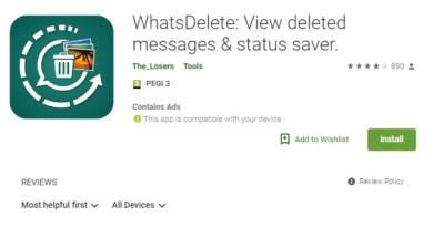 WhatsApp Recovery App for Deleted Messages on Play Store
