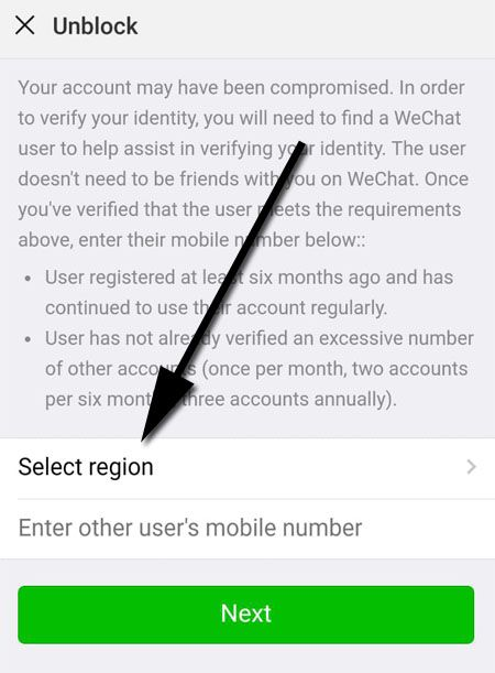 Your Account May have Been Compromised WeChat - Select Your Region