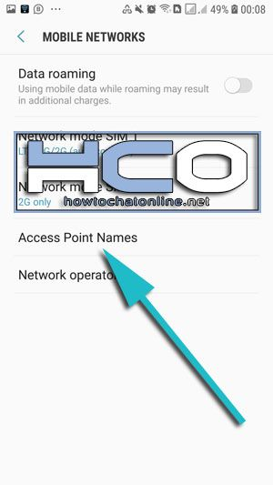 Tap on Access Point Names